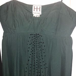 Strapless dark green dress